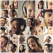 Fotografie Collage of different people with headphones listening to music.