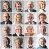 Koláž z starších, šťastné lidi s úsměvem