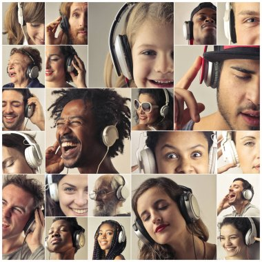 Collage of different people with headphones listening to music.