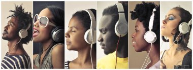 Collage of young people with headphones listening to music.