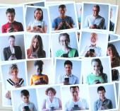 collage di persone che usano il loro telefono cellulare