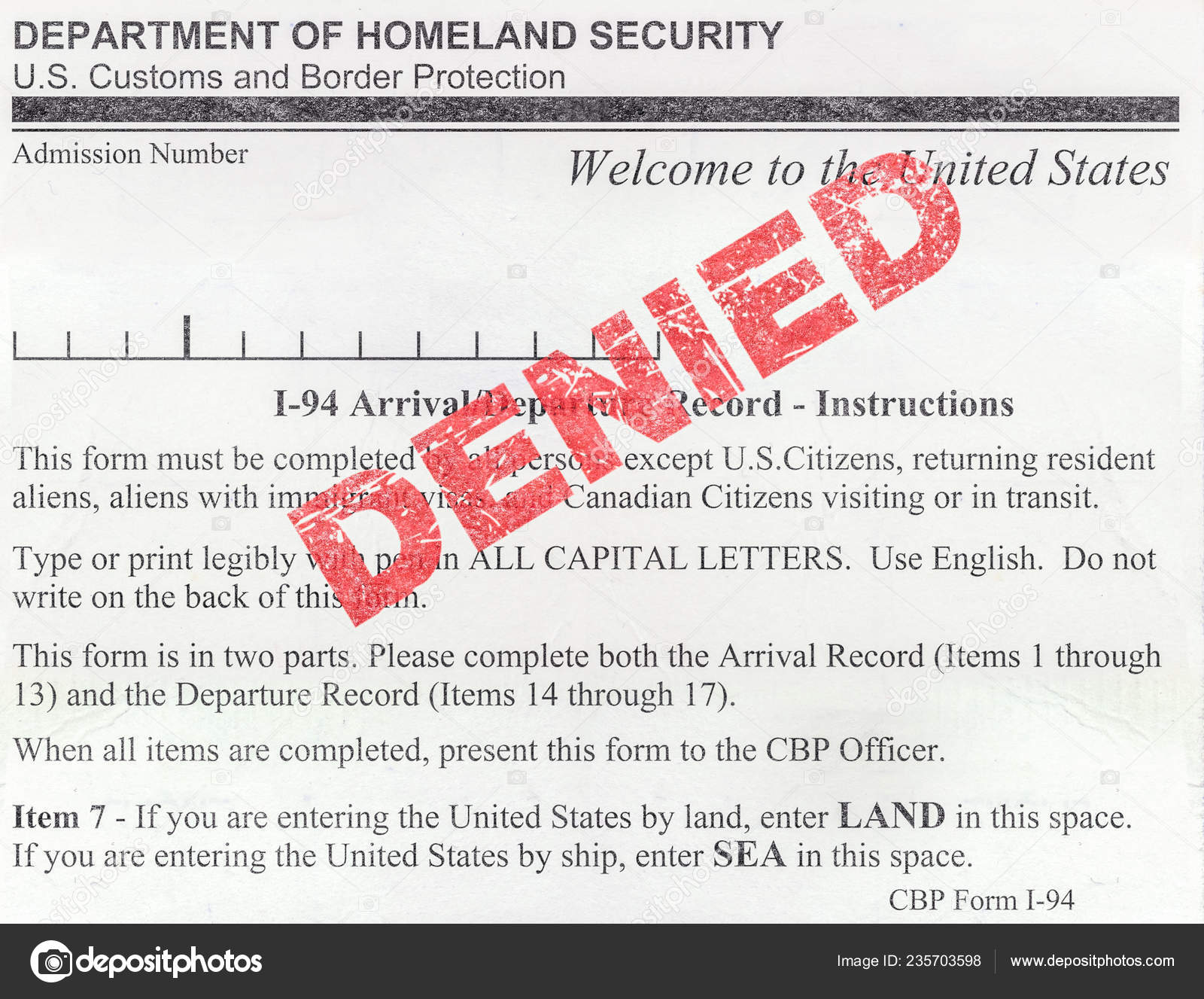 i 94 form immigration usa  Detail Denied Usa Immigration Customs Border Protection Form ...
