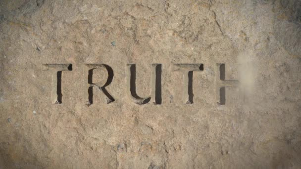 Conceptual Fake News Image Of The Word Truth Disappearing From Stone