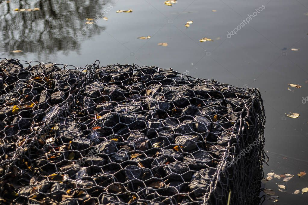 Gabions at Jubilee Lake Royal Wootton Bassett in Wiltshire