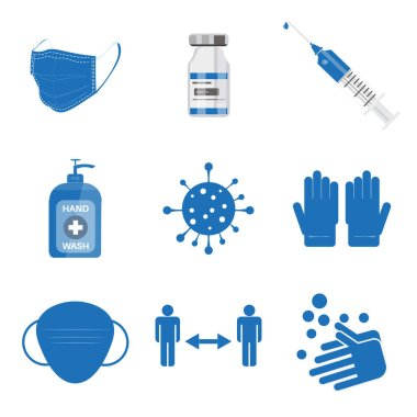 Covid-19 Covid icons set. Collection of vector /EPS simple web icons depicting hygiene, disinfection, symptoms, treatment, virus, prevention and vaccines Editable vector file icon