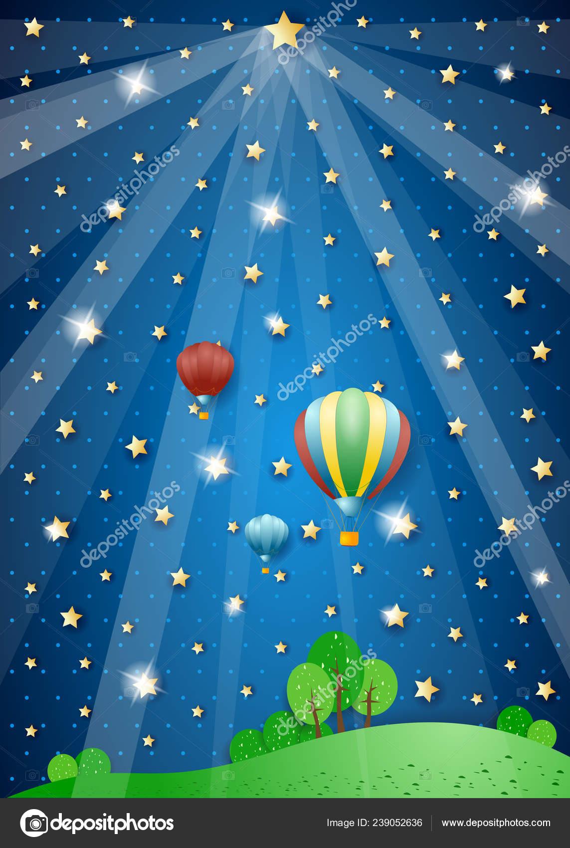 Noche Surrealista Con Luces Globos Aire Caliente Ilustración