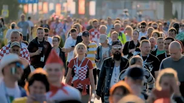 Football fans support teams on the streets of the city on the day of the match between Croatia and Nigeria