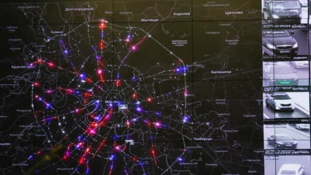 Interactive map in the traffic monitoring center shows statistics