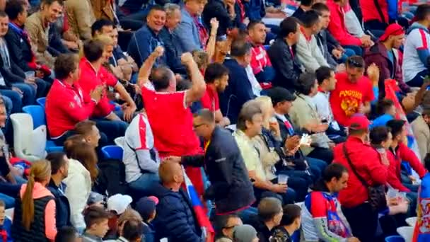 Football fans support teams on the match between Serbia and Switzerland