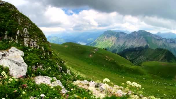 Summer time mountain panoramic landscape near Rochers-de-naye
