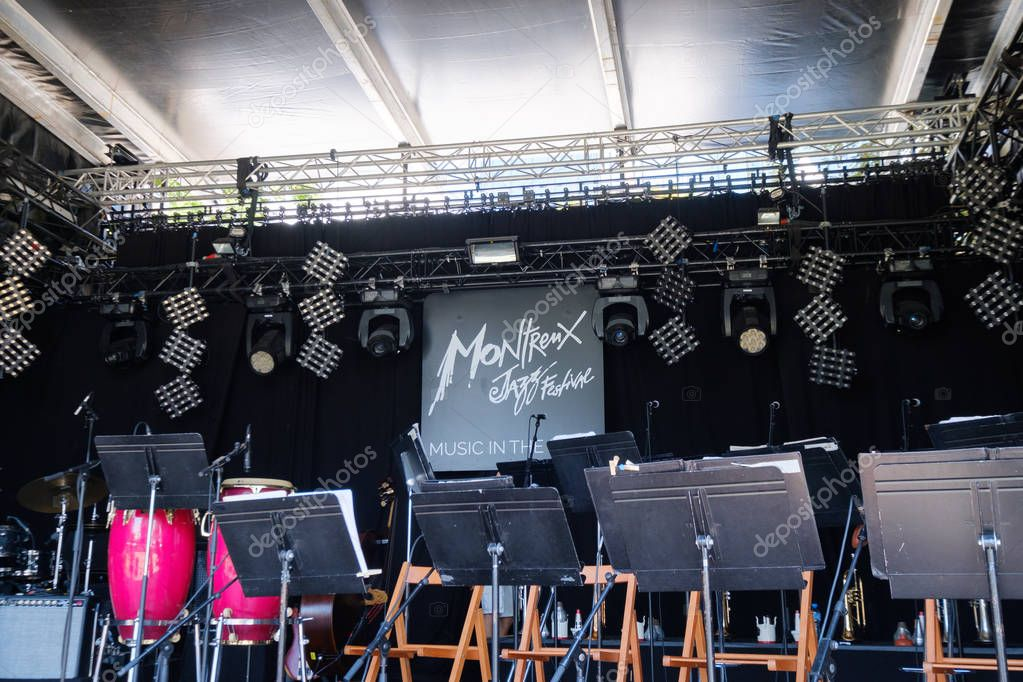 Empty stage at Montreux Jazz festival, nobody