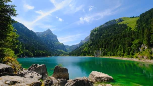 Beautiful mountain lake summer landscape