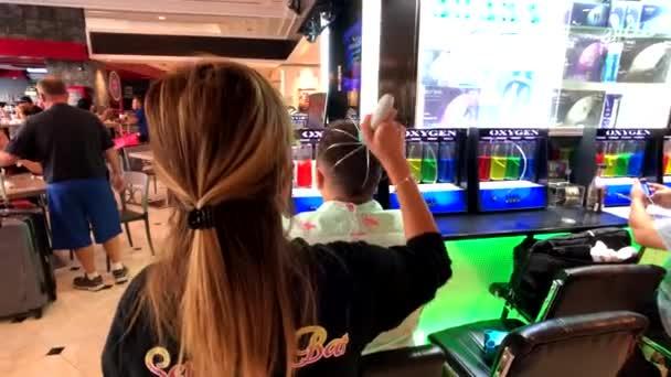 Tourists attend oxygen bar in casino