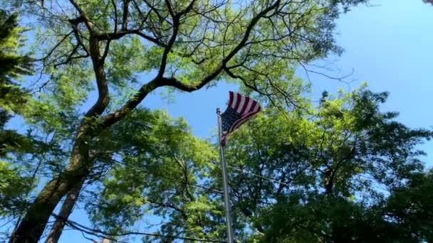 Integetett amerikai zászló Alulnézet