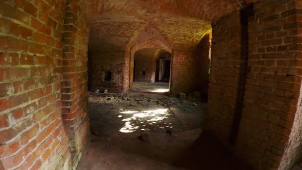 Destructed old brick structure exploration