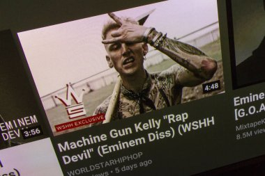 NAMPA, IDAHO - SEPTEMBER 9. 2018: MGK on a youtube video performing Rap Devil in reply to Eminems diss track