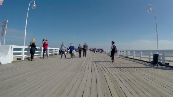 Sopot, Poland - April 20, 2018: tourists at the Pier in Sopot