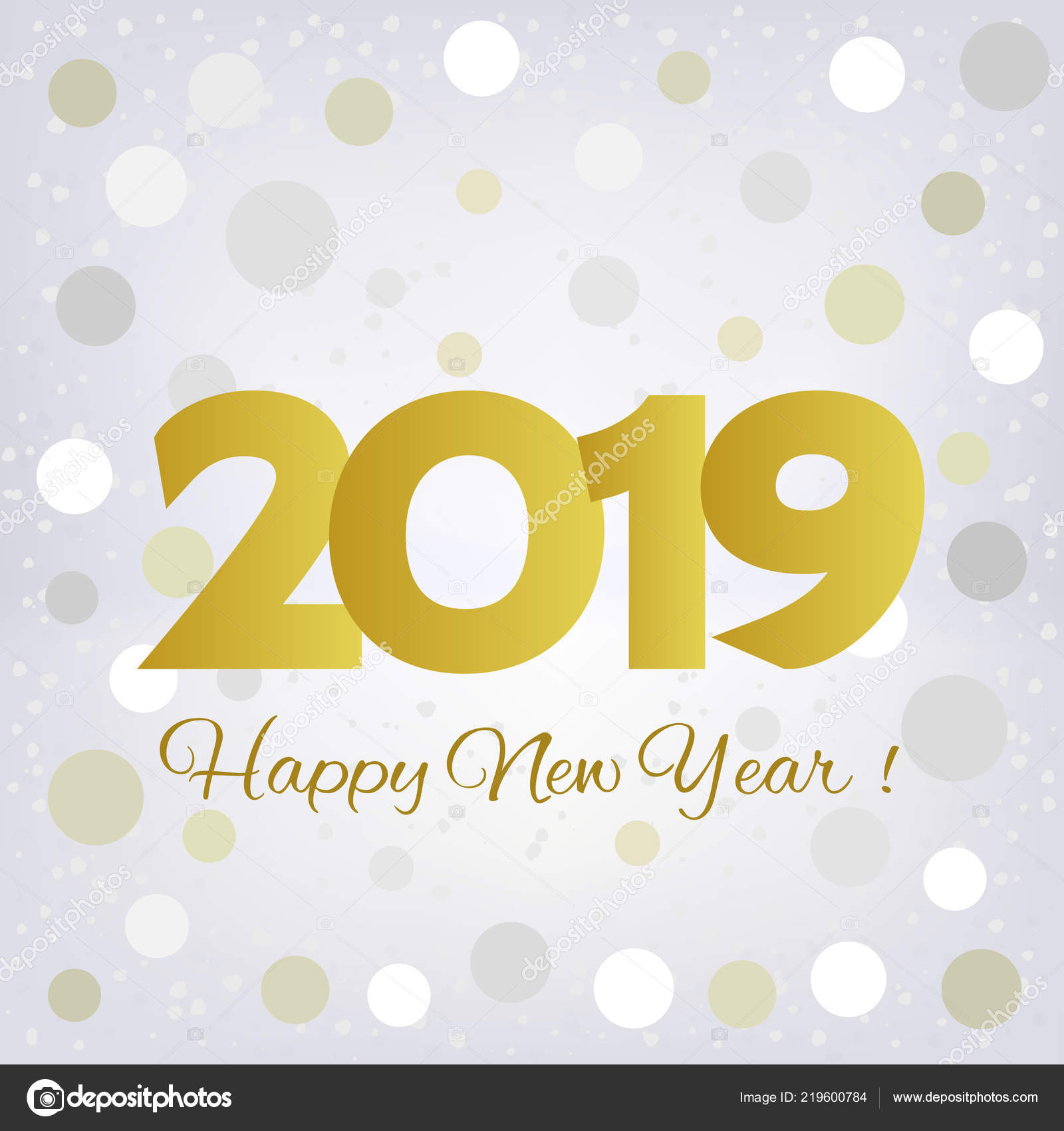2019 golden number happy new year greeting card with silvery and ...