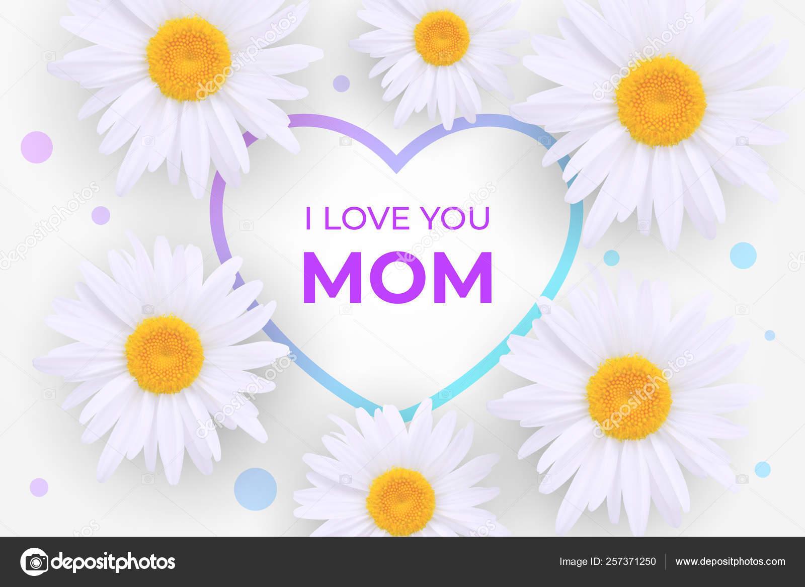 Linda Invitación Del Día De La Madre Te Amo Mamá Vector De
