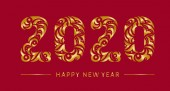 Happy 2020 new year gold vintage banner for your seasonal holidays