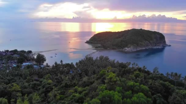 Drone view of a amazing scenery in a bucolic coast during sunset. Koh Phangan. 1920x1080