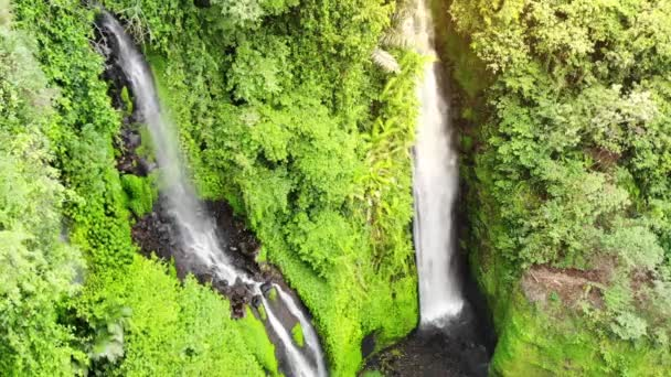 Aerial view on amazing waterfall on tropical island in Bali. slow motion.1920x1080