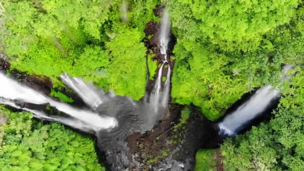 Aerial view on amazing waterfall on tropical island in Bali. slow motion. 1920x1080