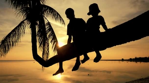 Silhouette of young happy father with his daughter sit on a palm tree during amazing golden sunset. Having fun on summer happy family vacation. slow motion. 1920x1080