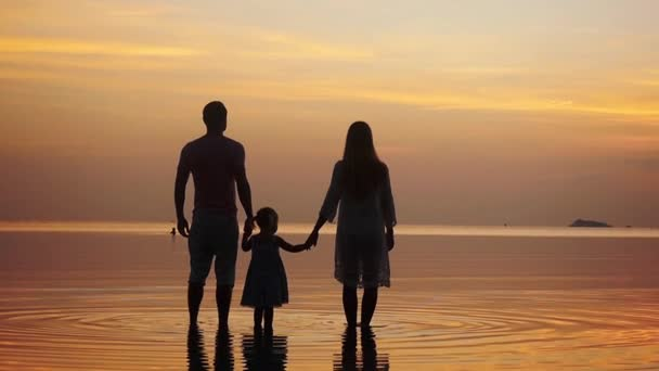 Silhouette of happy young family walking along the shore during amazing golden sunset. Family holiday. slow motion. 1920x1080