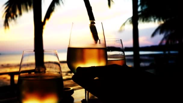 Freunde feiern bei herrlichem Sonnenuntergang bei einem Glas Weißwein. hd, 1920x1080. Zeitlupe