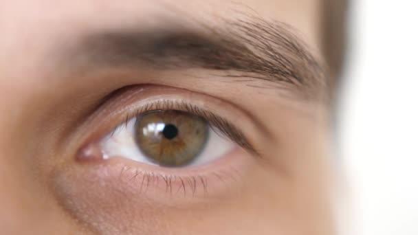 Zavřít mužské oko. Detail hnědého oka muže, který se dívá na kameru. Zpomaleně. 3840x2160