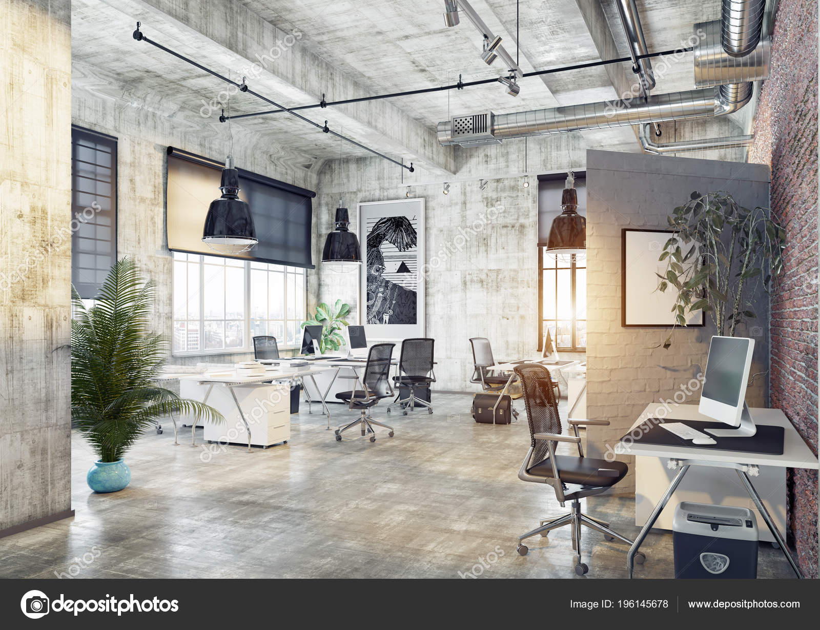 Beobachten Blick Auf Moderne Coworking Loft Buro Rendering Konzept