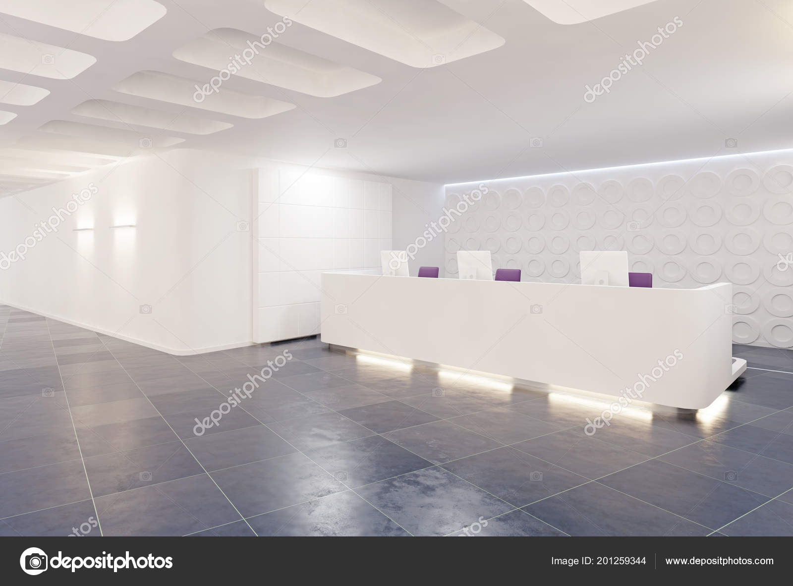 Modern Reception Desk Design Empty Counter U2014 Stock Photo