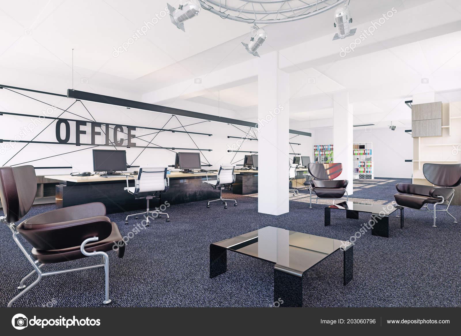 Vue intérieure bureaux modernes concept rendu u2014 photographie