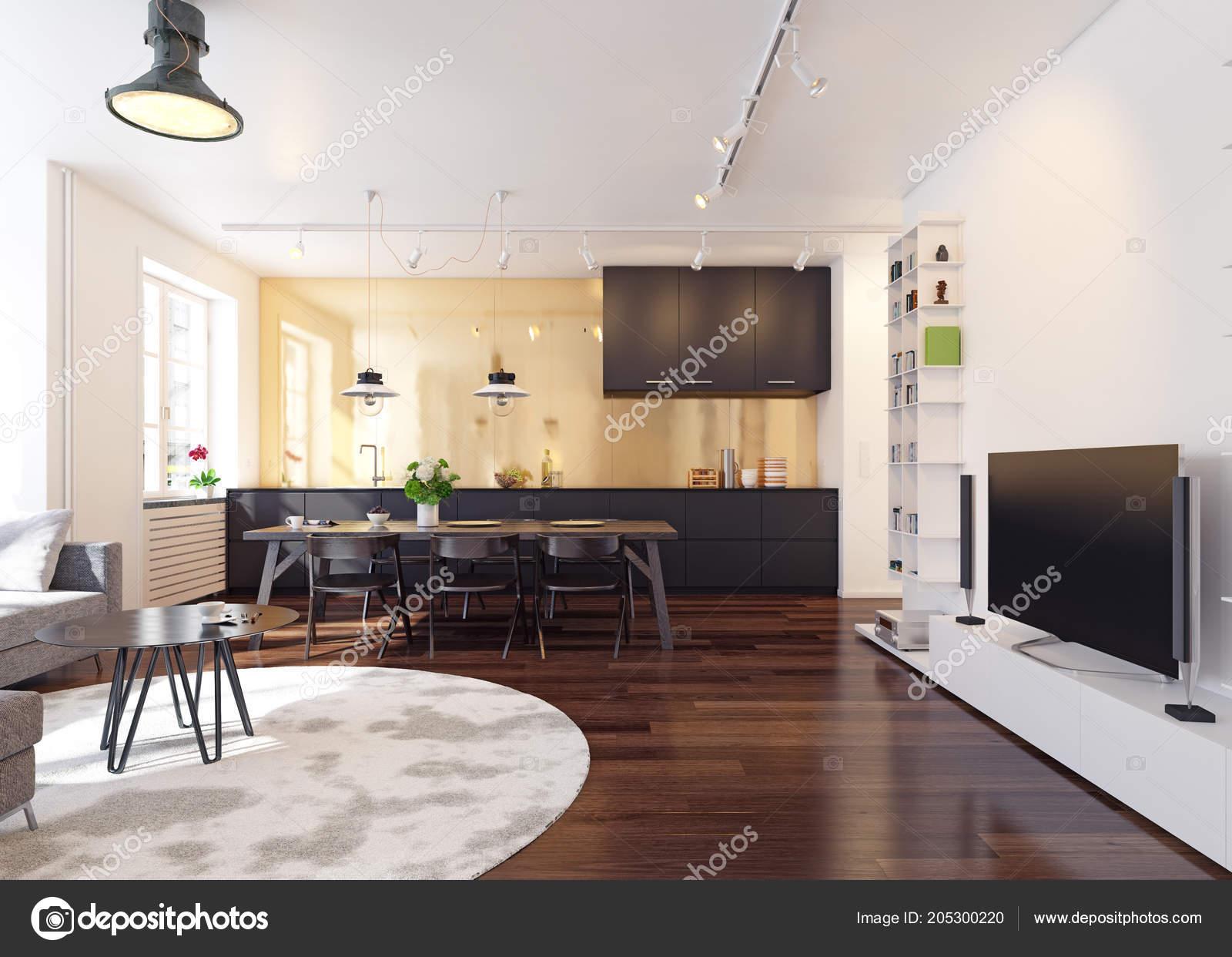 Cuisine Moderne Rendu 3d Intérieur. Concept De Design Contemporain U2014 Image  De ...