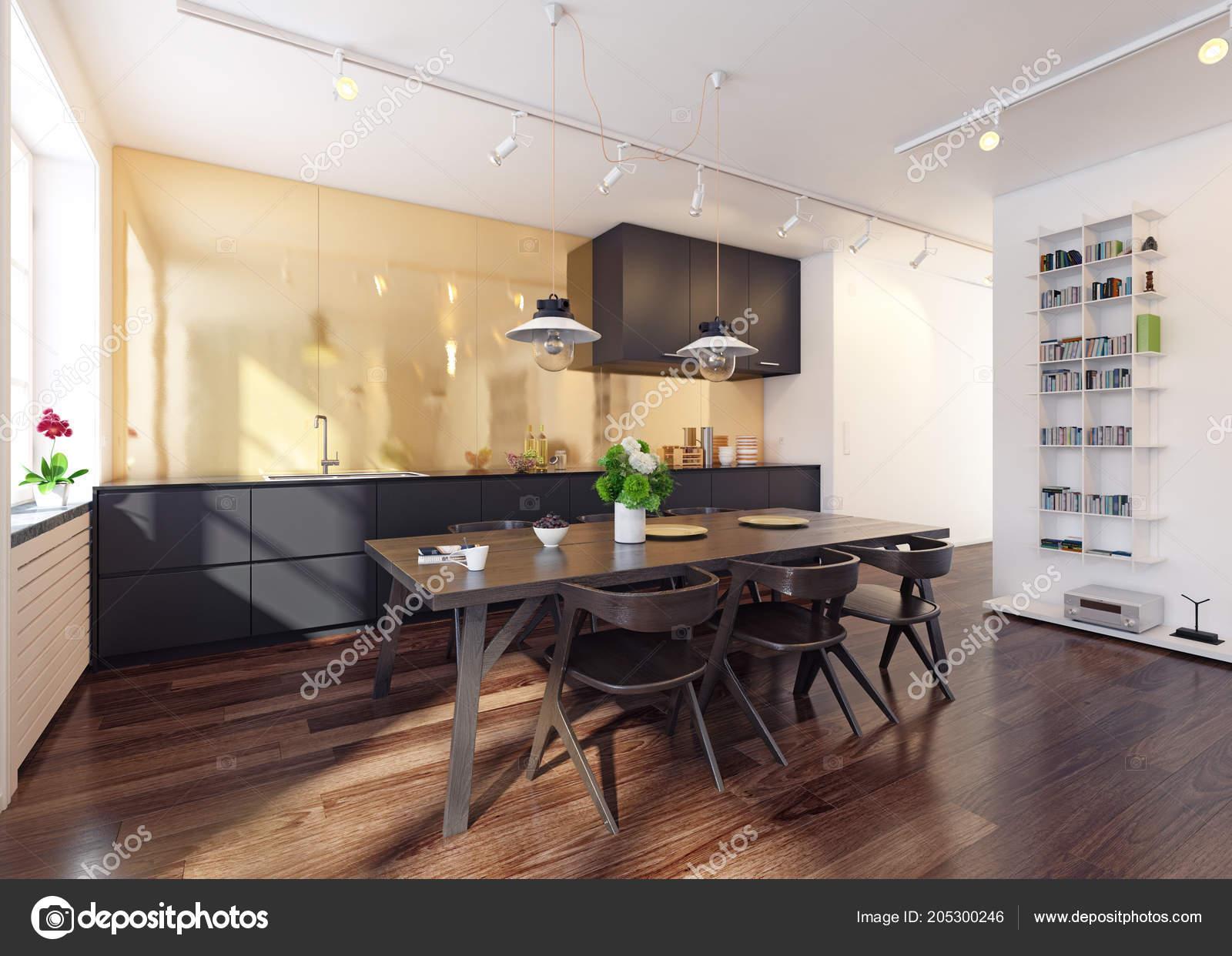 Cucina Moderna Rendering Interni Concetto Design Contemporaneo ...