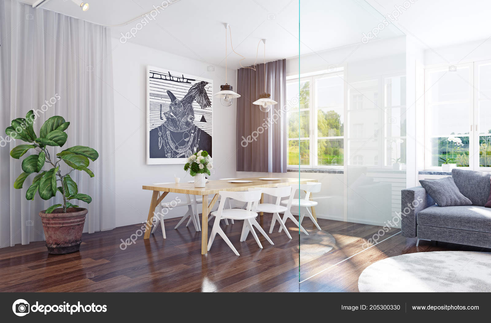 Sala Comedor Moderna Representación Interior Concepto Diseño ...