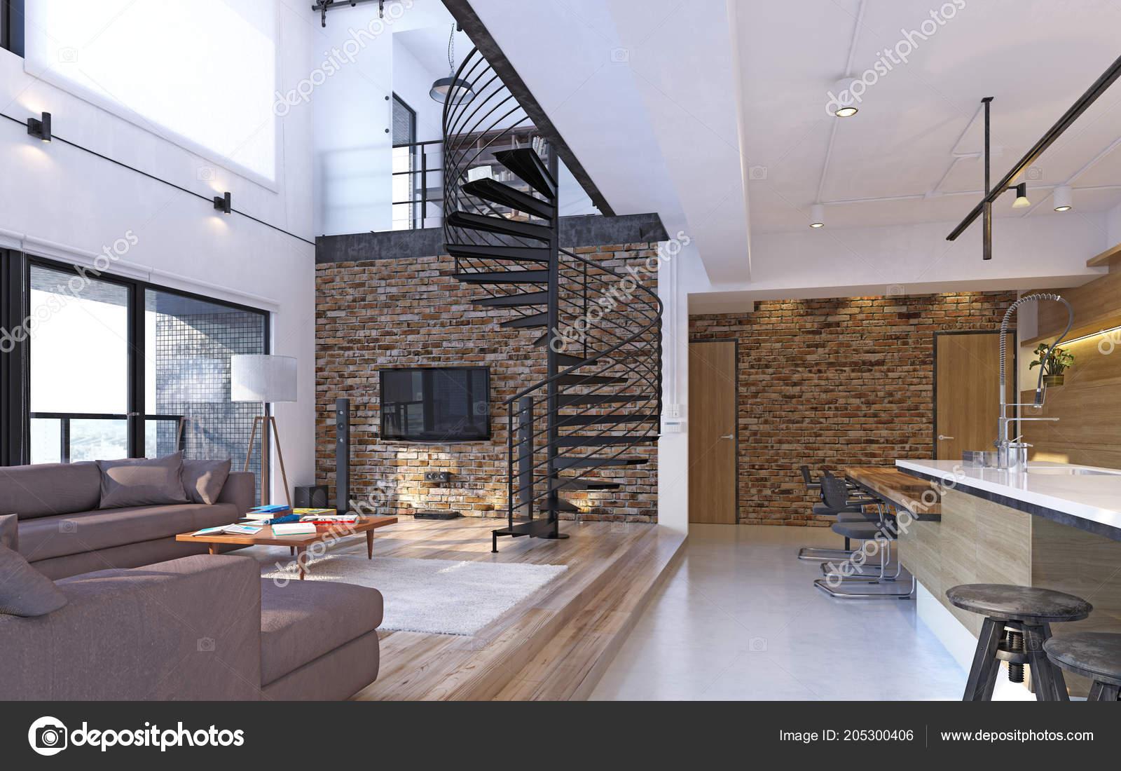 Luxus modernen loft wohnung interieur rendering konzept