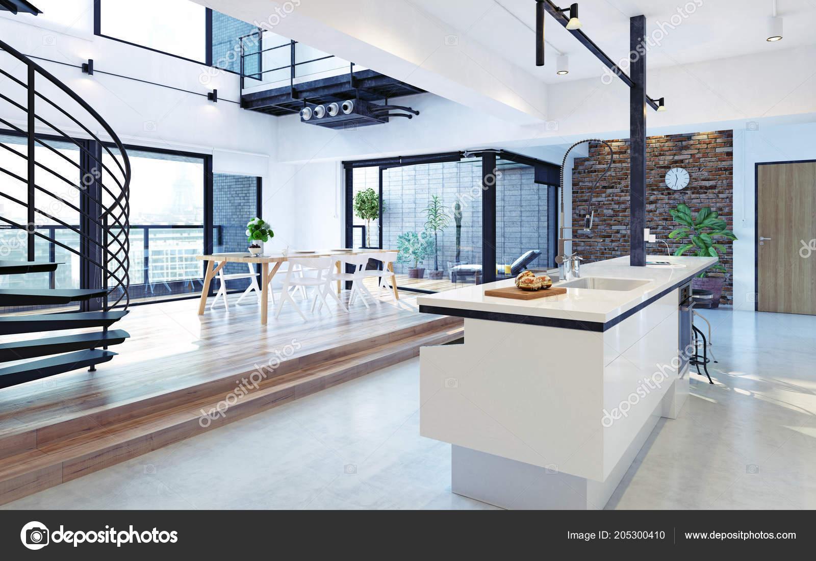 Interiore lusso moderno loft appartamento concetto rendering