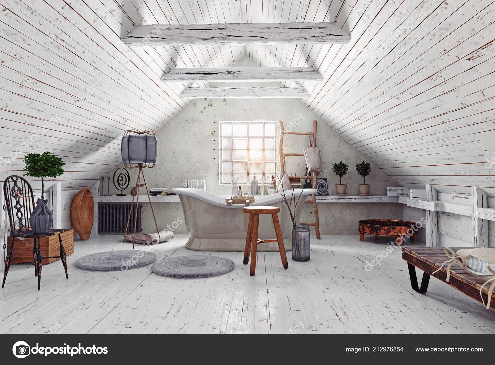Moderne Witte Badkamer : Moderne zolder witte badkamer interieur rendering ontwerp