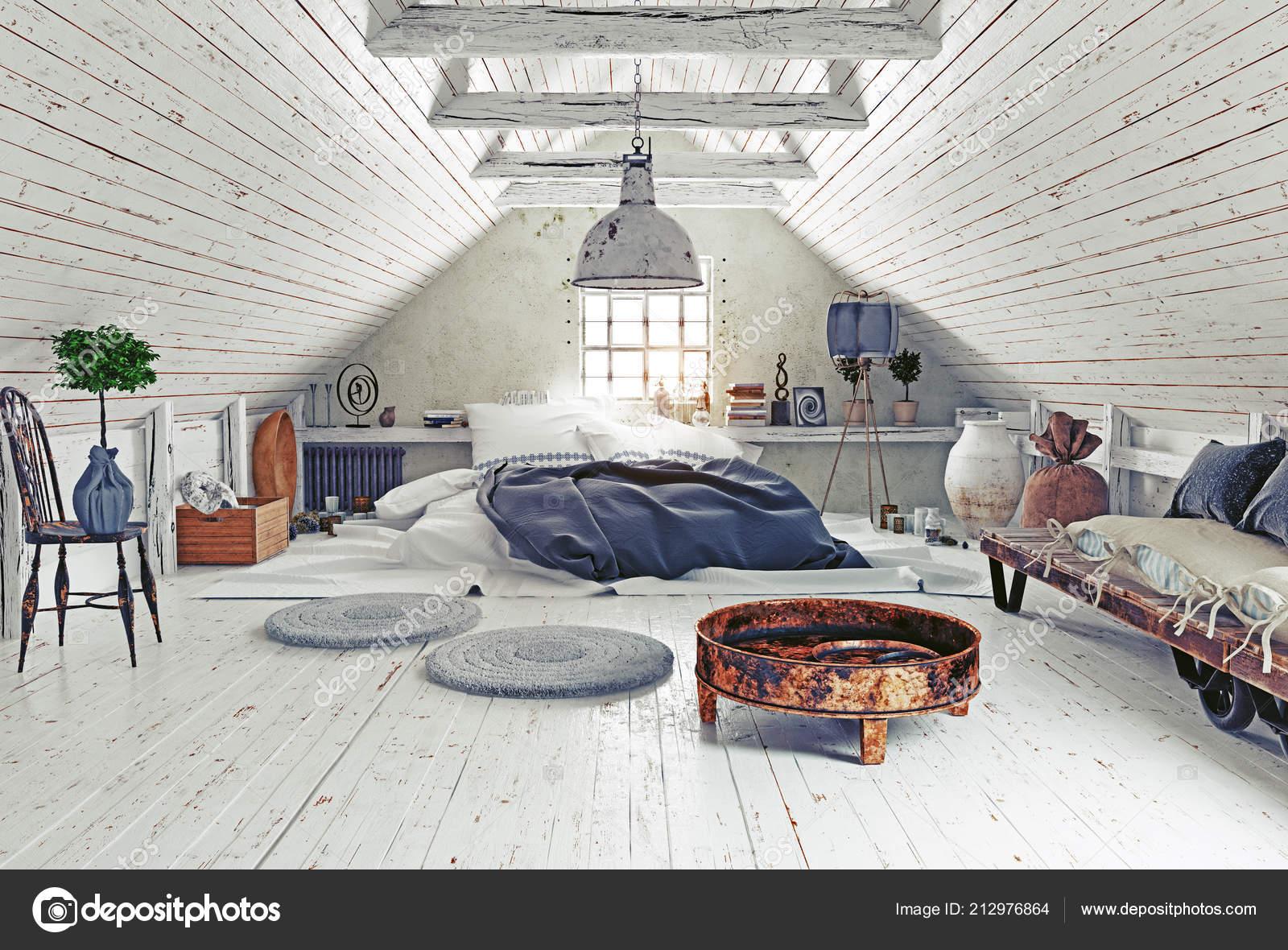Modern Attic Bedroom Design White Walls Rendering Interior Stock Photo Image By C Vicnt2815 212976864