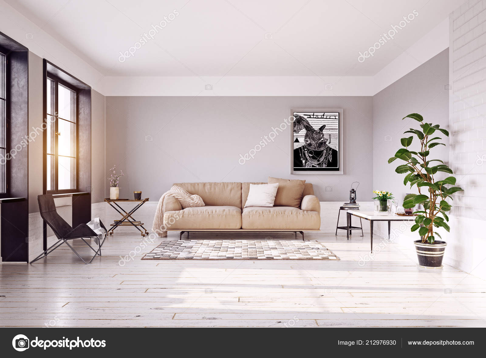 Incredible Modern Living Room Interior Big Sofa Rendering Stock Photo Machost Co Dining Chair Design Ideas Machostcouk