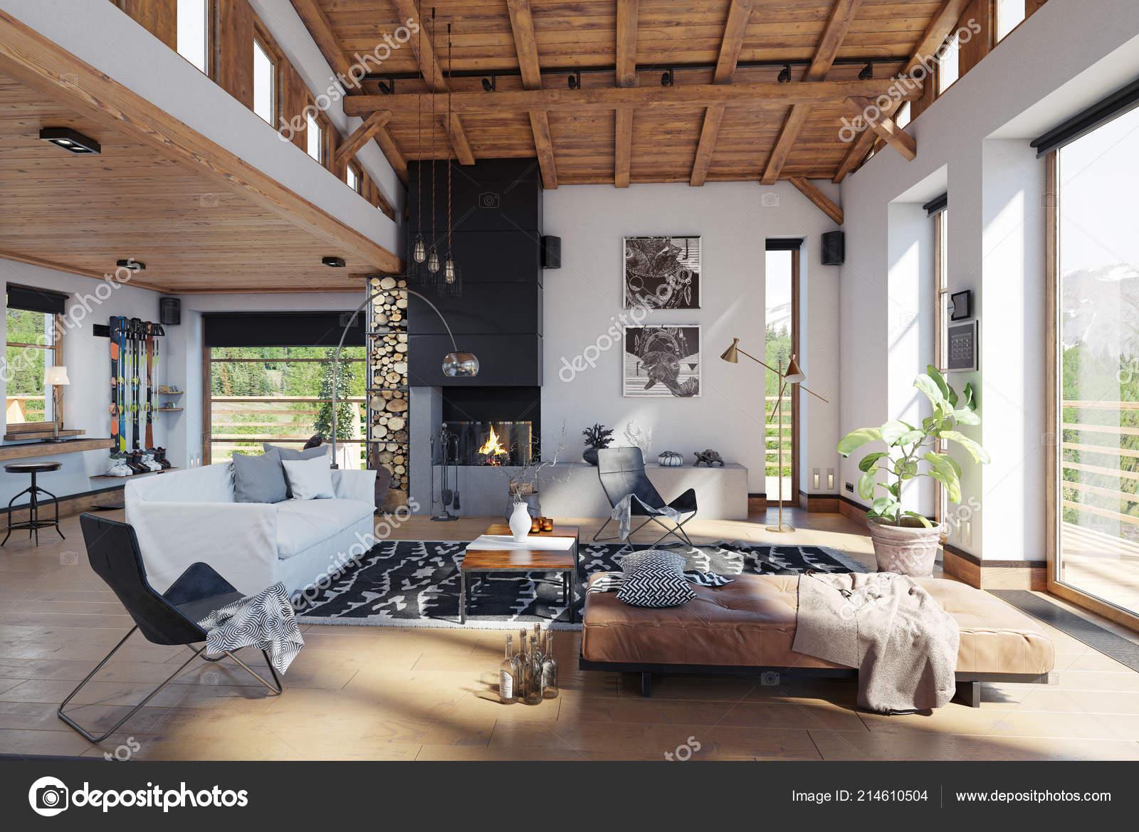 Modern chalet interior rendering design concept u stock photo