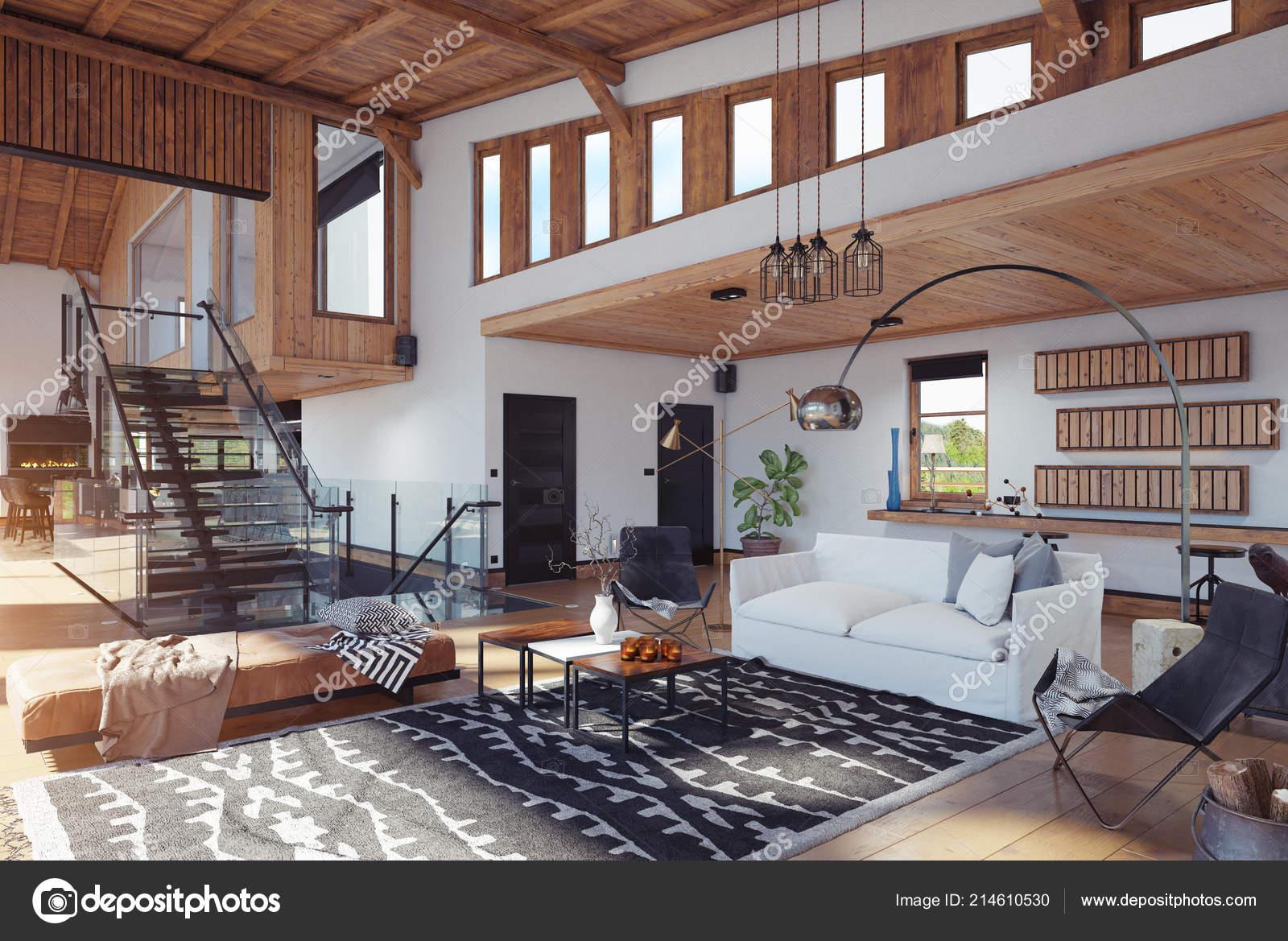Modernes Chalet Interieur Rendering Design Konzept ...