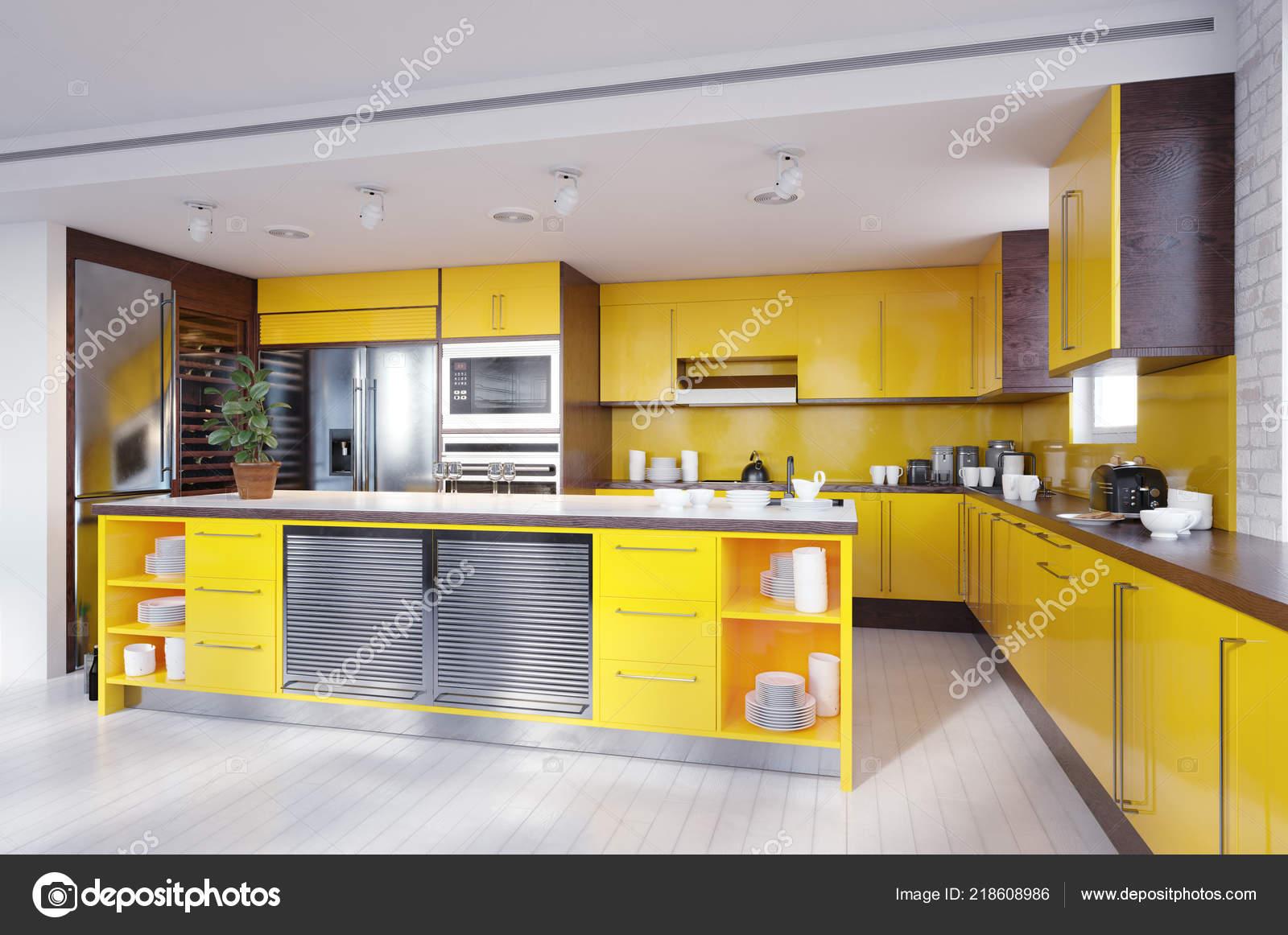 Modern Yellow Color Kitchen Interior Rendering Design Concept