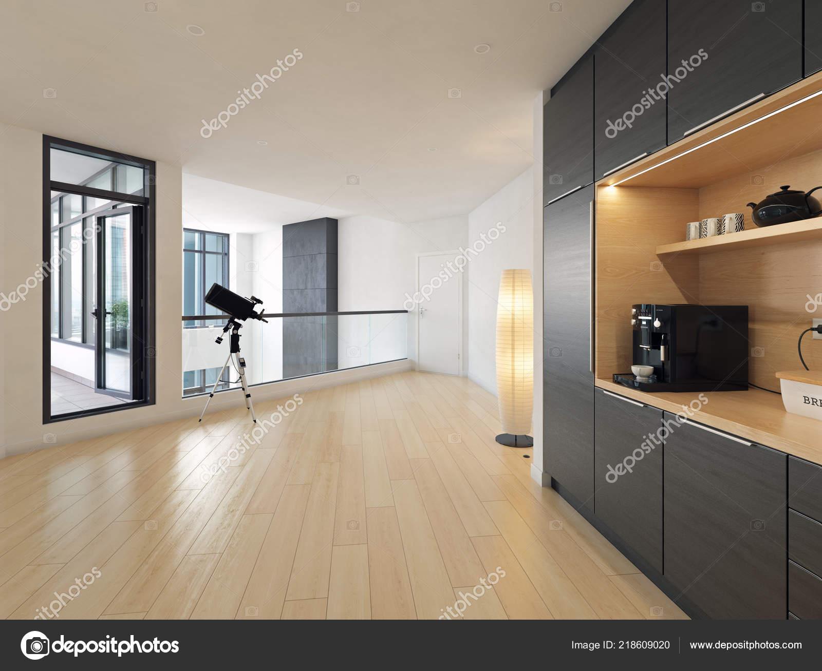 Modern house hall interior design rendering stock photo