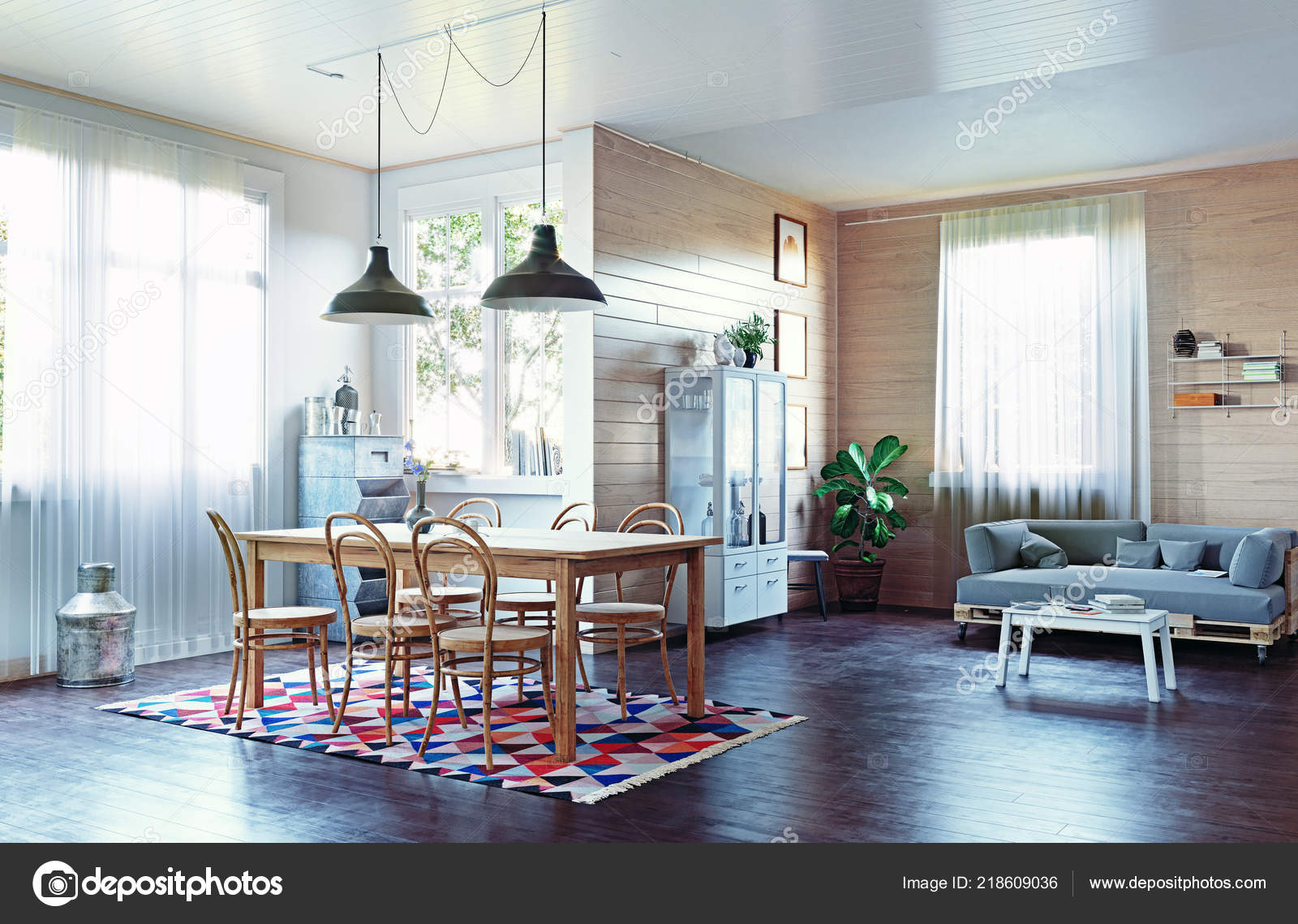 Moderno interior casa estilo r stico conceito design for Estilo rustico moderno