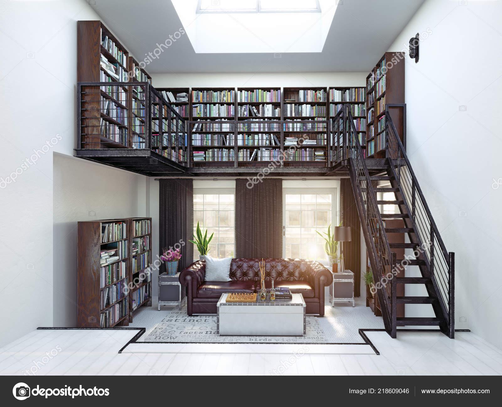 Home Library Interior Design Rendering Concept Stock Photo