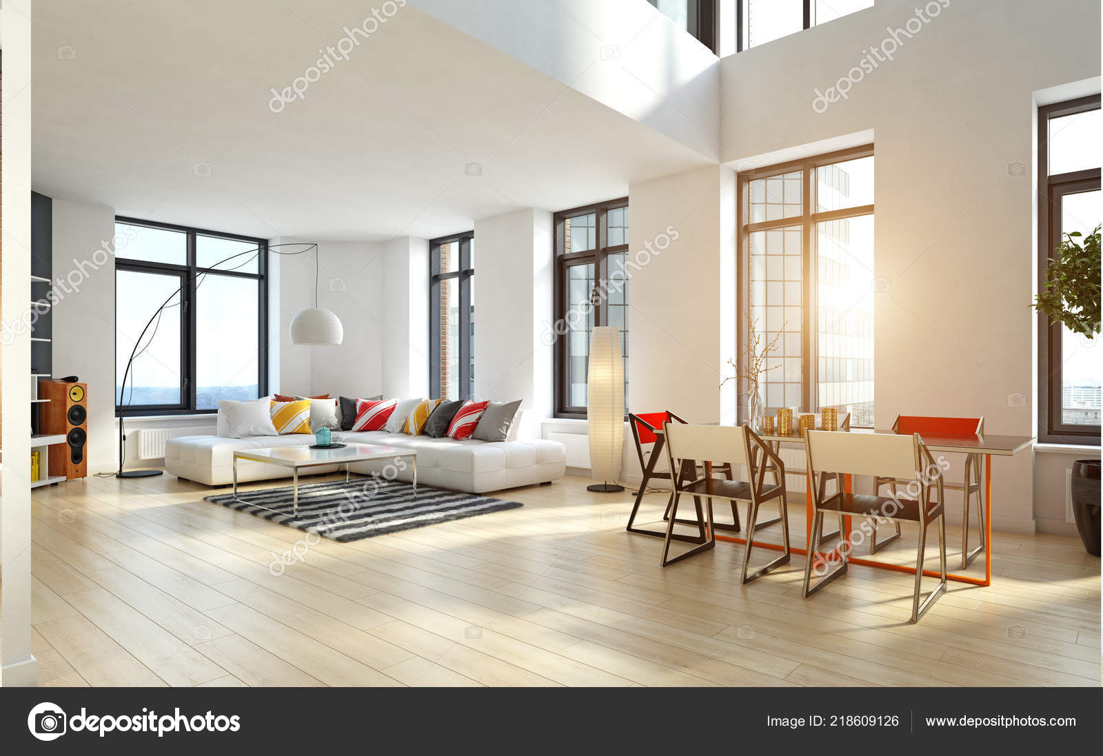 Moderne Ferienwohnung Eingerichtet Rendering Design Konzept ...