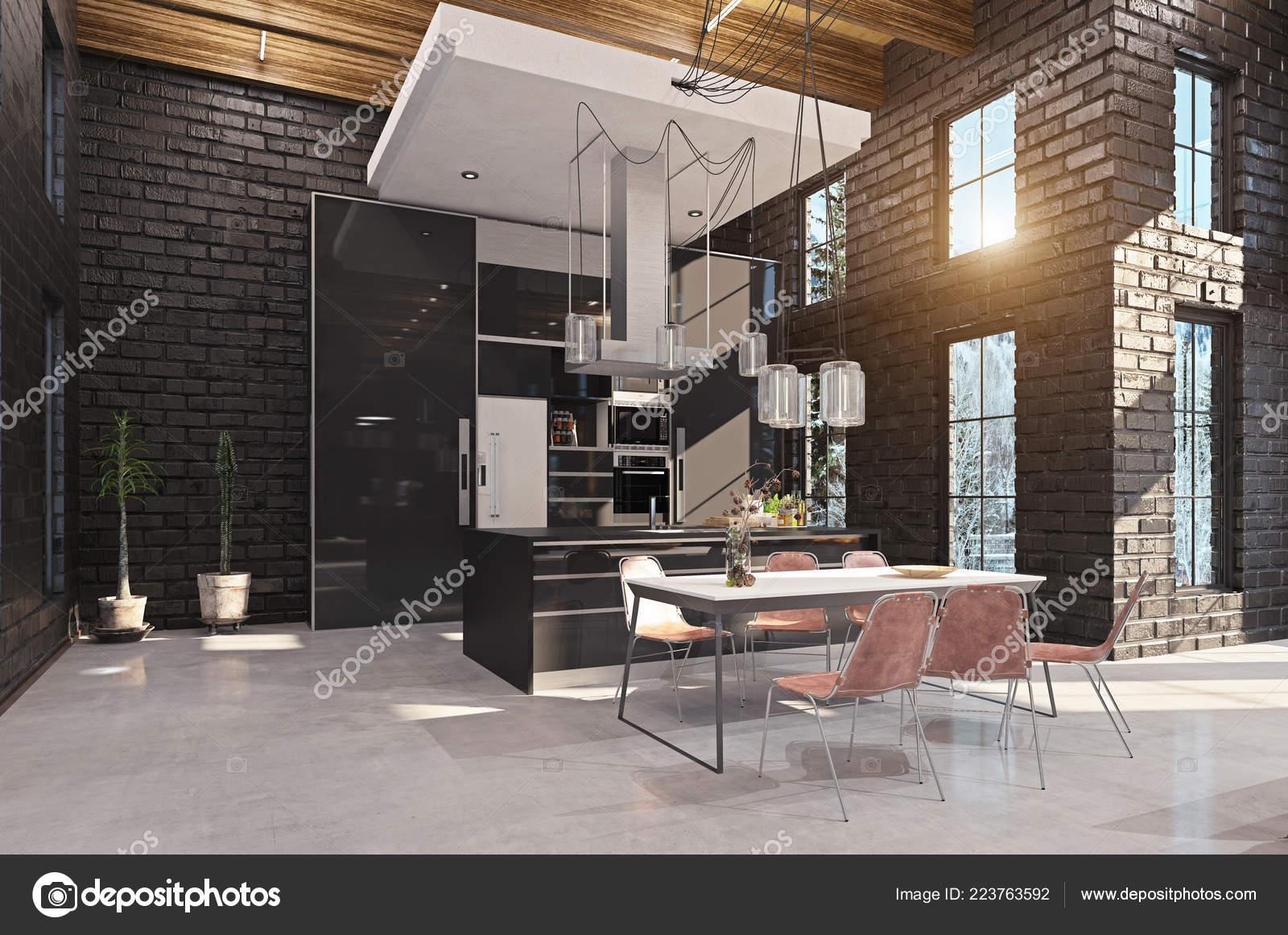 Luxe Interieur Ontwerp : Moderne luxe keuken interieur ontwerp concept rendering